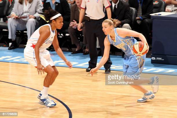 Cathy Joens of the Chicago Sky drives against Chioma Nnamaka of the Atlanta Dream during the WNBA game on June 6 2008 at Philips Arena in Atlanta...