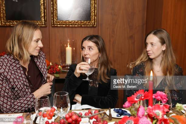 Cathy Kasterine and Vassi Chamberlain and Rachel Woodward attend Alexa Chung's CHUNGSGIVING dinner to celebrate Thanksgiving and the launch of her...