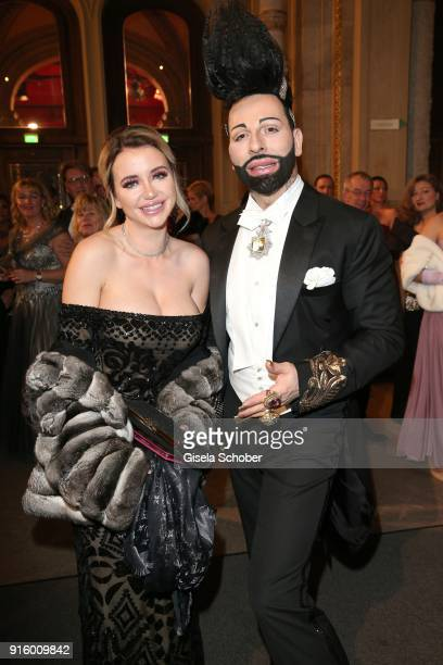 Cathy Lugner exwife of Richard Lugner and Harald Gloeoeckler during the Opera Ball Vienna at Vienna State Opera on February 8 2018 in Vienna Austria