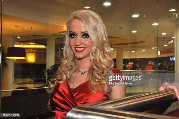 Cathy Lugner poses for a photograph at the after party for the Austrian premiere of 'American Hustle' at Lugner Lounge on February 13 2014 in Vienna...