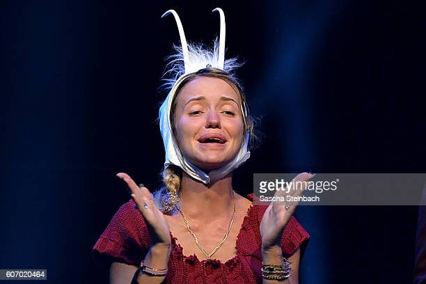 Cathy Lugner reacts during the finals of 'Promi Big Brother 2016' at MMC Studios on September 16 2016 in Cologne Germany