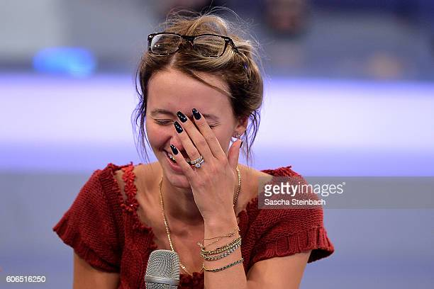 Cathy Lugner reacts placed second during the finals of 'Promi Big Brother 2016' at MMC Studios on September 16 2016 in Cologne Germany