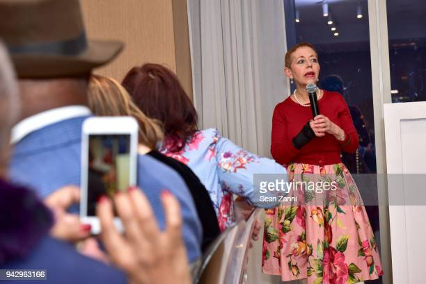 Cathy M Kaplan speaks at the Spring Party to benefit Aperture and to celebrate The Photographer in the Garden at Public Hotel on April 6 2018 in New...