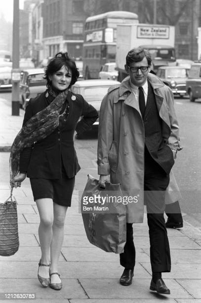 Cathy McGowan British broadcaster and journalist walking on a London street with Time magazine correspondent Peter Forbath April 3 1966