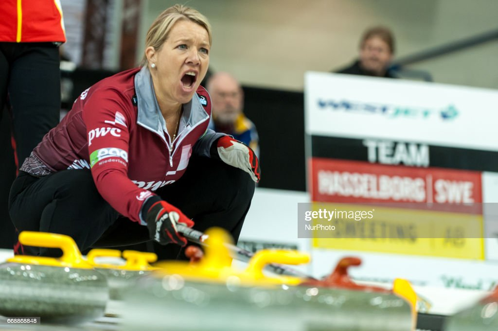 Cathy Overton-Clapham on the ice during 2017 WetJet Players Championship which takes place in Ryerson's Mattamy Athletic Centre, in Toronto, Ontario, Canada on April 13, 2017.