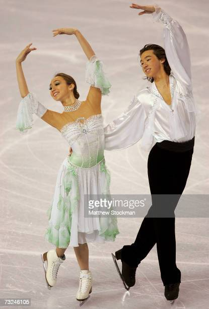 Cathy Reed and Chris Reed of Japan compete in the compusory dance portion of the ice dancing competition during the ISU Four Continents Figure...