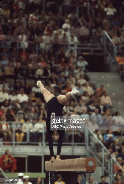 Cathy Rigby competing in the Women's balance beam event at the 1972 Summer Olympics / the Games of the XX Olympiad Olympiahalle