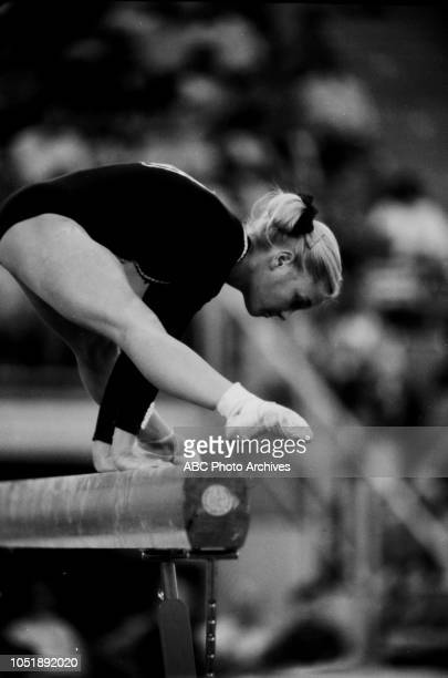 Cathy Rigby competing in the Women's gymnastics event at the 1972 Summer Olympics / Games of the XX Olympiad Olympic Sports Hall