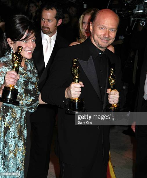 Cathy Schulman and Paul Haggis during 2006 Vanity Fair Oscar Party Hosted by Graydon Carter Arrivals at Morton's in West Hollywood California United...