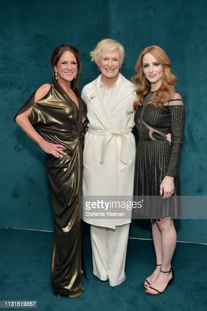 Cathy Schulman, Glenn Close, wearing Max Mara, and Jaime Ray Newman attend 12th Annual Women in Film Oscar Nominees Party Presented by Max Mara with...