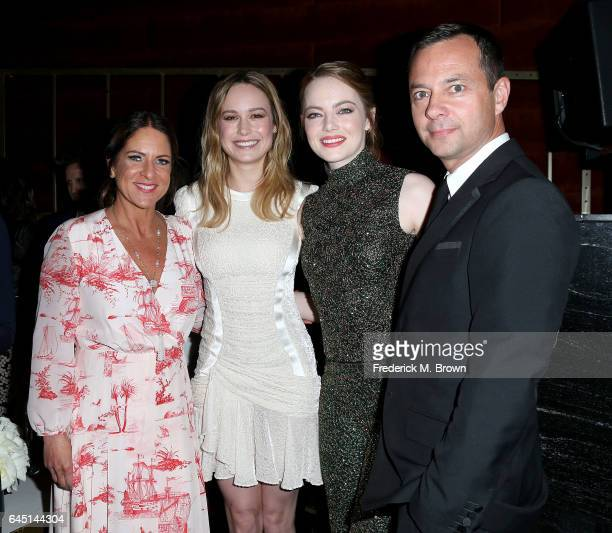 Cathy Schulman President of Women in Film actresses Brie Larson and Emma Stone and a guest attend the 10th Annual Women in Film PreOscar Cocktail...