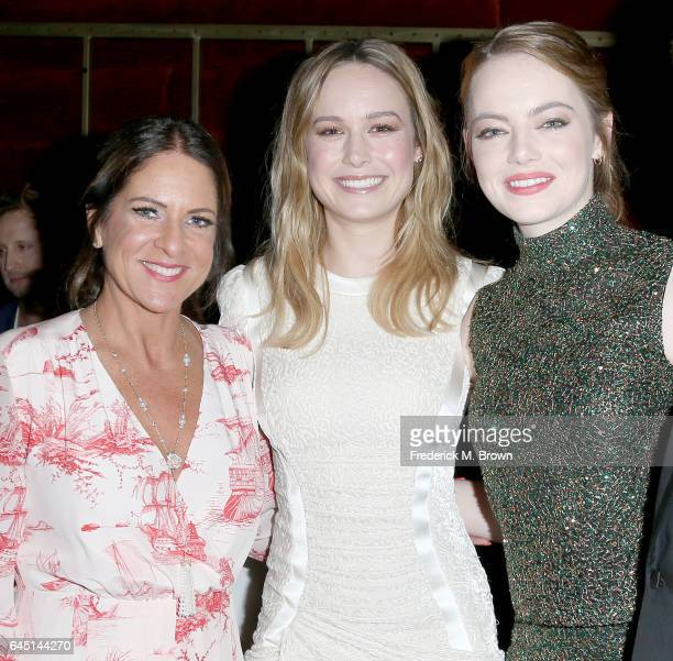 Cathy Schulman President of Women in Film and actresses Brie Larson and Emma Stone attend the 10th Annual Women in Film PreOscar Cocktail Party...