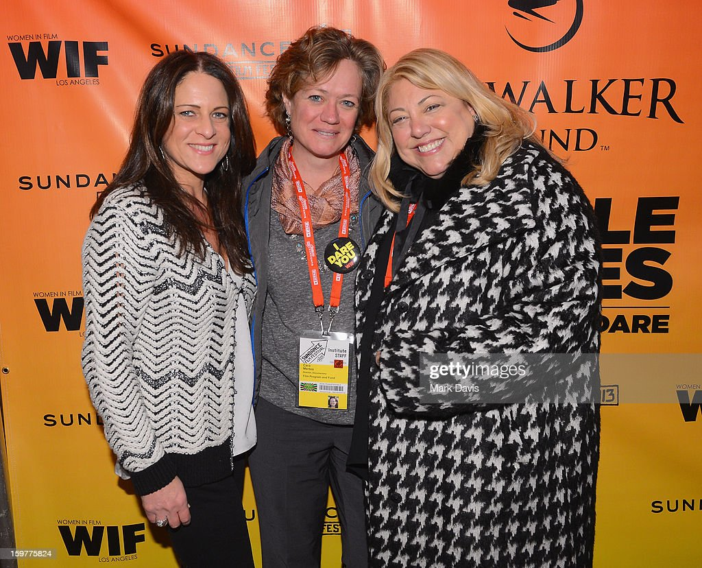 Cathy Schulman, President, Women In Film, Director Documentary Film Program Sundance Film Festival, Cara Mertes and moderator Lucy Webb attends the Women In Film's Sundance Filmmakers Panel presented by Skywalker Sound on January 20, 2013 in Park City, Utah.