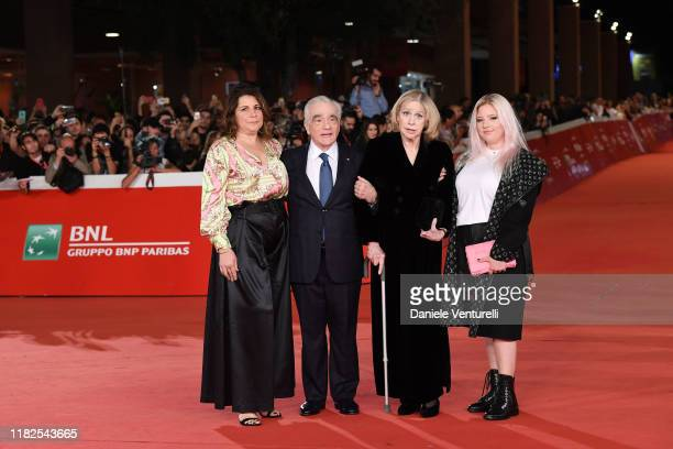 Cathy Scorsese Martin Scorsese Helen Morris and Francesca Scorsese attend The Irishman red carpet during the 14th Rome Film Festival on October 21...