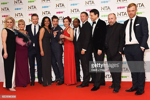 Cathy Shipton Jason Durr Amanda Mealing Will Beck Michael Stevenson and Tony Marshall of Casualty pose in the winners room at the National Television...
