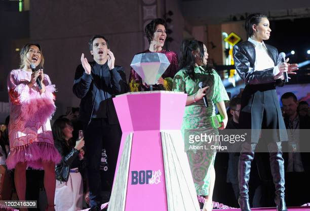Cathy Yan Chris Messina Mary Elizabeth Winstead Ella Jay Basco and Jurnee SmollettBell attend A Night of Music and Mayhem in Harleywood hosted by the...