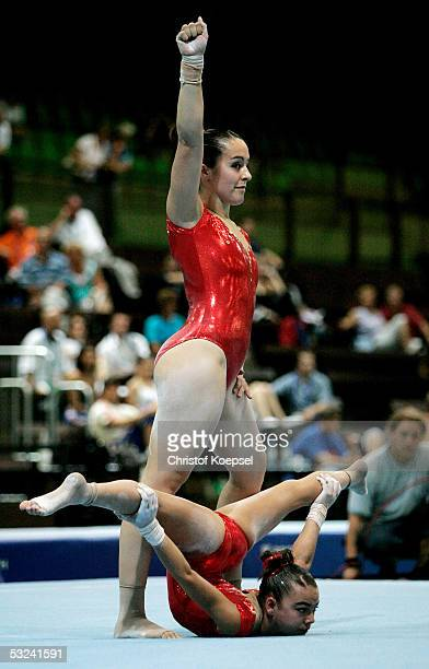 Catia Messias and Ines Valada of Portugal compete in the women's pairs sport acrobatics event during the World Games 2005 on July 15, 2005 in...