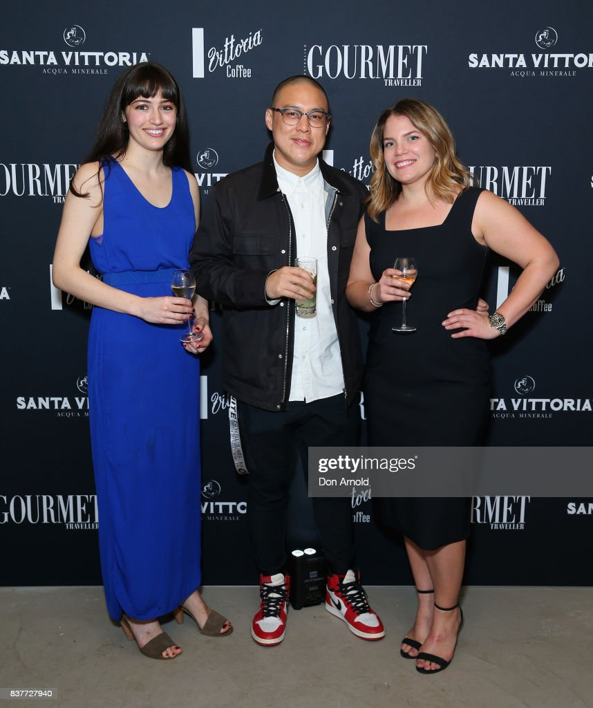 Catitlyn Reece, Danielle Alvarez and Dan Huong pose the 2018 Gourmet Traveller National Restaurant Awards at Chin Chin Restaurant on August 23, 2017 in Sydney, Australia.