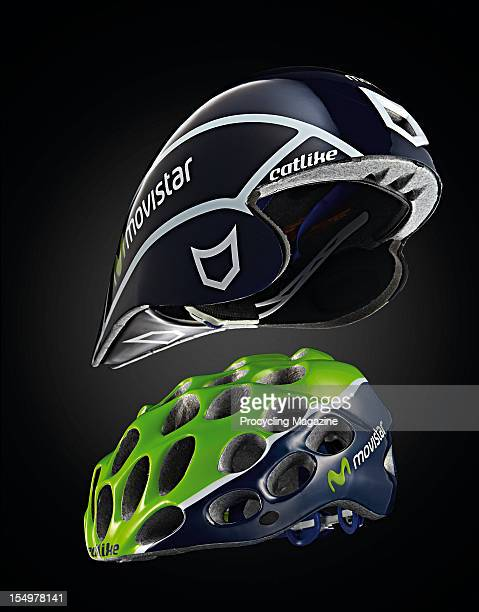 Catlike Movistar Chrono Aero WT and Whisper cycling helmets, photographed during a studio shoot for Procycling Magazine, March 21, 2012.