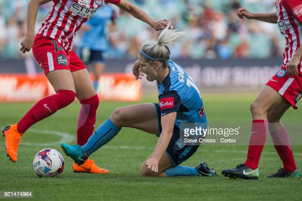 Catlin Cooper of the Sydney FC battles for the ball with City's Alanna Kennedy during the WLeague Grand Final match between the Sydney FC and the...