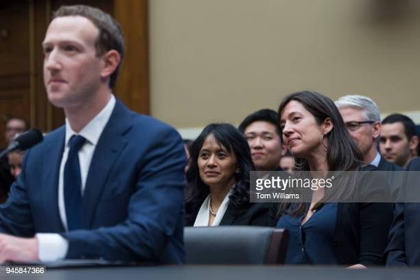 Catlin O'Neill right of Facebook listens to CEO Mark Zuckerberg testify before a House Energy and Commerce Committee in Rayburn Building on the...