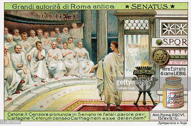 Catone the Censor addressing the Senate in Romeurging his countrymen to fight the Third Punic War and destroy Carthage Caption reads 'Ceterum censeo...
