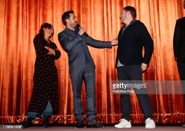 Catrin Striebeck Elyas M'Barek and Marco Kreuzpaintner during the Der Fall Collini premiere at Astor Filmlounge Hafen City on April 13 2019 in...