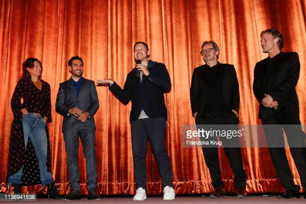 Catrin Striebeck Elyas M'Barek Marco Kreuzpaintner Marcel Hartges and Christoph Mueller during the Der Fall Collini premiere at Astor Filmlounge...