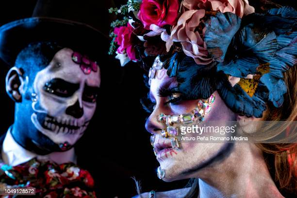 catrina and catrin - all souls day stock photos and pictures