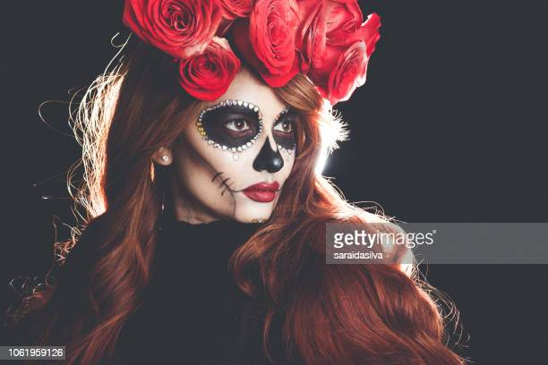 catrina roses and makeup - dia de muertos - sugar skull stock photos and pictures