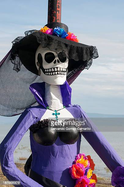 Catrinas exhibition is shown in Ajijic lake previous to the celebration of the day of the death on October 25 2013 in Ajijic Mexico