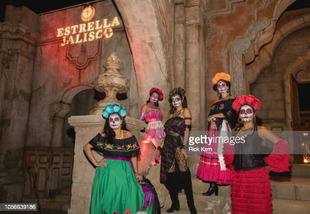 Catrinas pose at Estrella Jalisco's Day of the Dead celebration at Robert Rodriguez's Troublemaker Studios on November 2 2018 in Austin Texas
