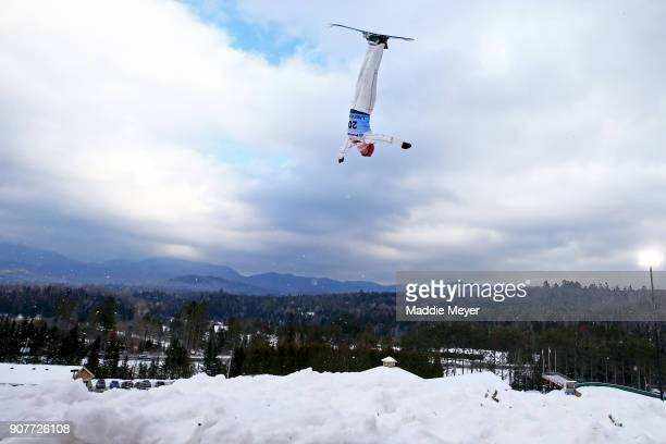 Catrine Lavallee of Canada trains before the qualifying round of the Putnam Freestyle World Cup at the Lake Placid Olympic Ski Jumping Complex on...