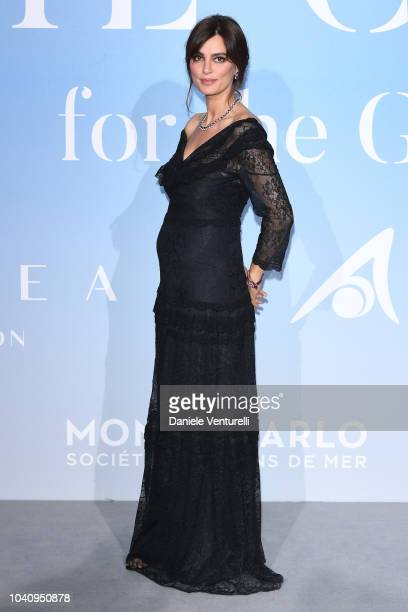 Catrinel Marlon attends the Gala for the Global Ocean hosted by HSH Prince Albert II of Monaco at Opera of MonteCarlo on September 26 2018 in...