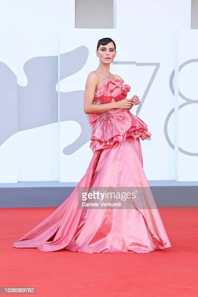 """Catrinel Marlon attends the red carpet of the movie """"Freaks Out"""" during the 78th Venice International Film Festival on September 08, 2021 in Venice,..."""