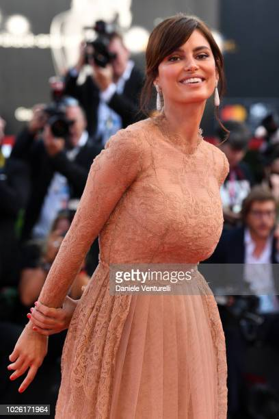 Catrinel Marlon walks the red carpet ahead of the 'The Sisters Brothers' screening during the 75th Venice Film Festival at Sala Grande on September...