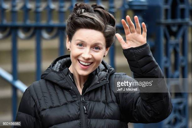 GLASGOW SCOTLAND MARCH 15 Catriona Balfe from the TV series Outlander departs a filming location at St Andrew's Square on March 15 2018 in Glasgow...