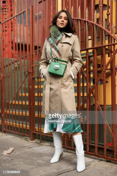 Catriona Gray is seen on the street during New York Fashion Week AW19 wearing Alice Olivia on February 11 2019 in New York City