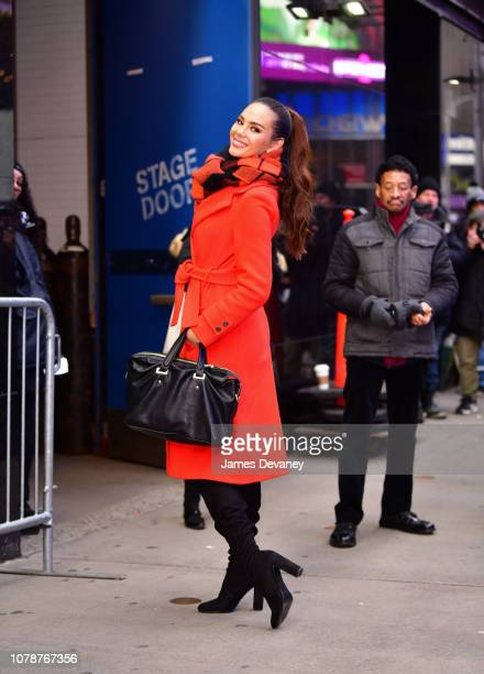 Catriona Gray leaves ABC's Good Morning America in Times Square on January 7 2019 in New York City