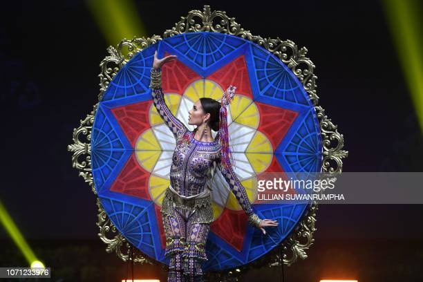 Catriona Gray Miss Philippines 2018 poses on stage during the 2018 Miss Universe national costume presentation in Chonburi province on December 10...