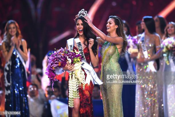 Catriona Gray of Philippines reacts as she is crowned the new Miss Universe 2018 by Miss Universe 2017 DemiLeigh NelPeters on December 17 2018 in...