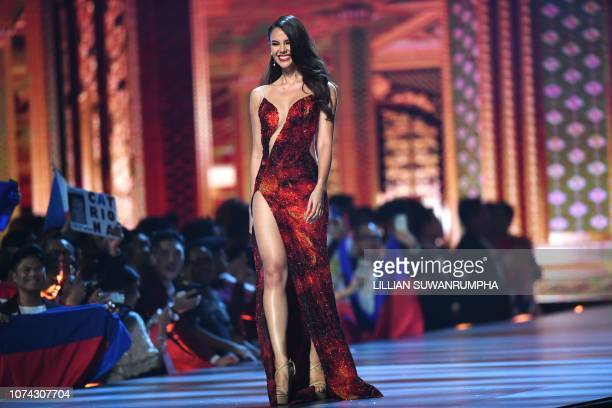 Catriona Gray of the Philippines competes after being selected as top 10 finalist during the 2018 Miss Universe Pageant in Bangkok on December 17...