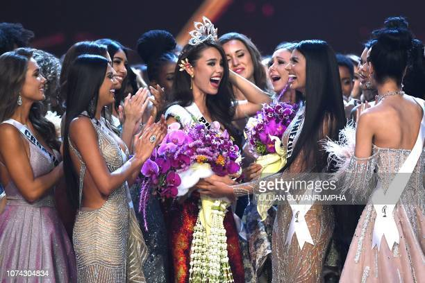 Catriona Gray of the Philippines is congratulated by contestants after winning the Miss Universe 2018 on December 17 2018 in Bangkok