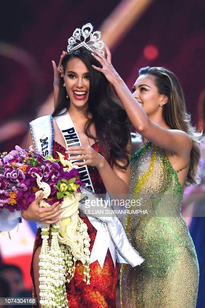 Catriona Gray of the Philippines reacts as she is crowned the new Miss Universe 2018 by Miss Universe 2017 DemiLeigh NelPeters on December 17 2018 in...