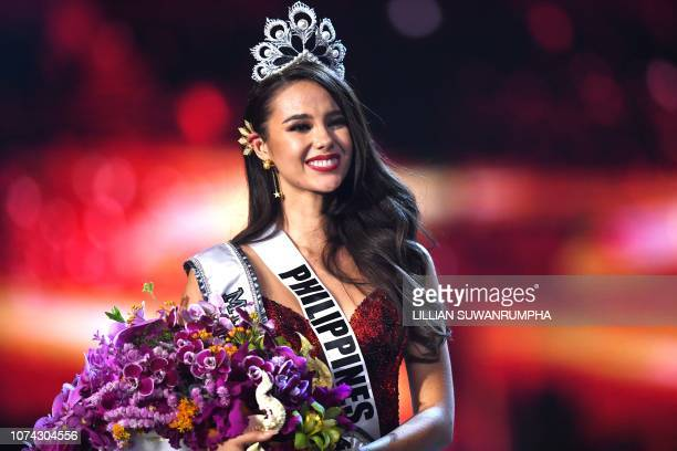 Catriona Gray of the Philippines smiles after being crowned the new Miss Universe 2018 on December 17 2018 in Bangkok