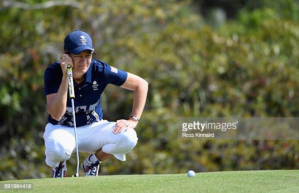 Catriona Matthew of Great Britain on the 4th green during the third round of the Women's Individual Stroke Play golf on day 14 of the Rio Olympics at...