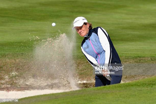 Catriona Matthew of Great Britain plays a bunker shot on hole eight during day two of the European Golf Team Championships at Gleneagles on August 9,...