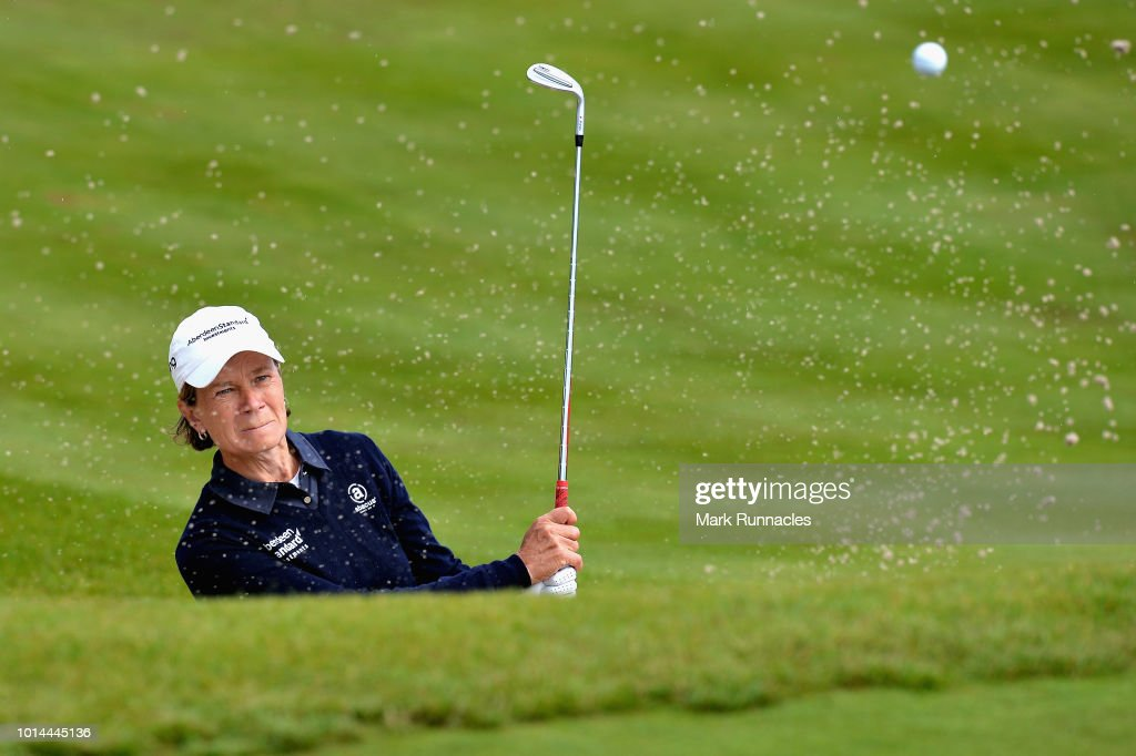 Catriona Matthew of Great Britain plays from a bunker on hole eighteen during match 5 of Group D during day three of the European Golf Team Championships at Gleneagles on August 10, 2018 in Auchterarder, Scotland. This event forms part of the first multi-sport European Championships.