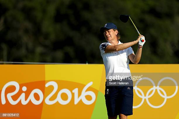 Catriona Matthew of Great Britain plays her shot from the third tee during the First Round of Women's Golf on Day 12 of the Rio 2016 Olympic Games at...