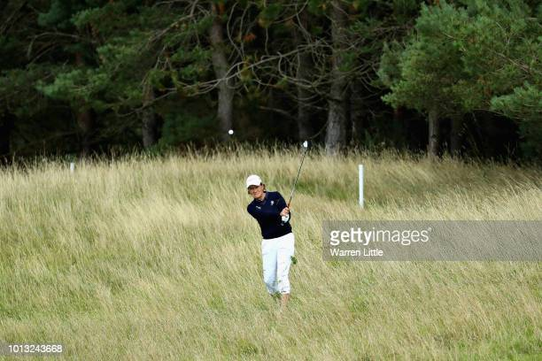 Catriona Matthew of Great Britain takes her second shot on hole sixteen during match 1 of Group D during day one of the European Golf Team...